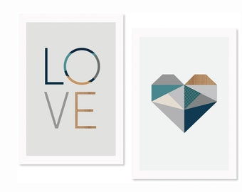 Love and Heart (Blues) Nursery art, Nursery decor,kids art, kidsroom art, modern nursery decor,love print, boys art,boysroom art, art prints