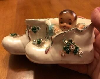 Sweet Vintage Ceramic Baby Booties Bank