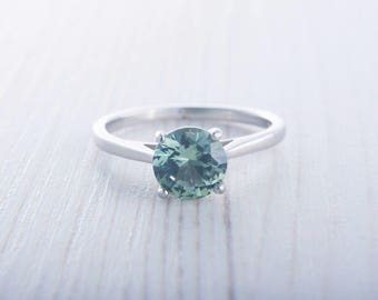 1.5ct Green Sapphire solitaire cathedral ring in Titanium or White Gold - engagement ring - wedding ring - handmade ring