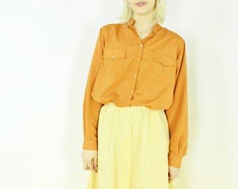 vtg 70s orange thin button down shirt perfect hue long sleeve blouse medium med m