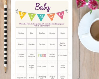Baby Shower Bingo Game - 50 Unique Game Sheets - Bingo - Baby Shower Game - Twin Baby Shower - Gender Neutral - Instant Download