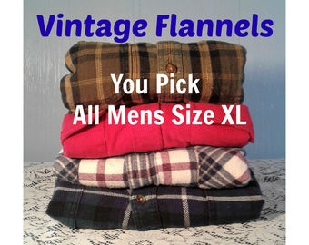 Oversized Flannel Shirt, Mens Vintage Flannel Shirt, Thick Flannel shirt, Boyfriend Plaid Shirt - You PICK Flannel - ALL Mens Size XL