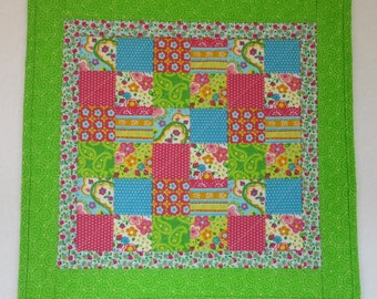 """Doll Quilt, 17.5"""" x 18"""", Lime Green, Flowers, Dots, Patchwork Print Quilt, Free Pillow"""