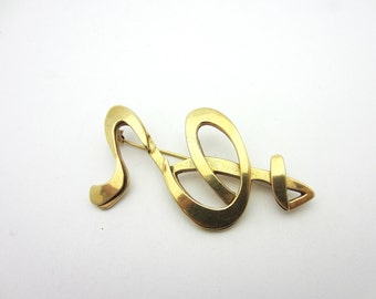 Estate Janiye Miye Matsukata Modernist Abstract Brooch 14k Yellow Gold