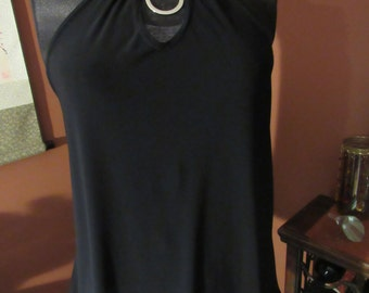 Black Stretch Asymetrical Sleeveless Strappy Top - Size M/L