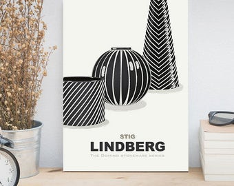 Living Room Art, Mid century Modern Art Poster, Scandinavian Design, Stig Lindberg Stoneware, Domino Series Vases, Kitchen Art, 11x14 Prints