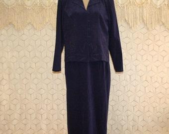 Womens Plus Size Dresses Purple Dress Long Sleeve Dress Suit Dress Large XL Maxi Dress Tea Length Karin Stevens Womens Vintage Clothing