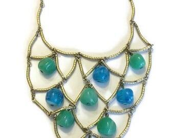 Tribal Chic 1970s Necklace, Signed Monet Necklace, Vintage Gold Tone Bib Necklace, Ethnic Boho Jewelry, Costume Jewelry