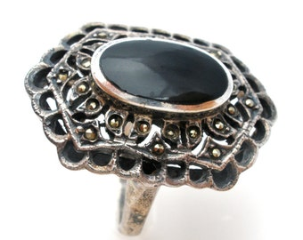 Black Onyx Ring, Sterling Silver, Size 7, Vintage Jewelry, Ring with Marcasites, Vintage Rings, 925 Jewelry, Gemstone Ring