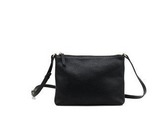 CICI - Leather CrossBody Bag - BLACK