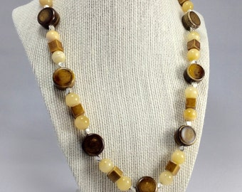 Porcelain, Agate and Silver Necklace