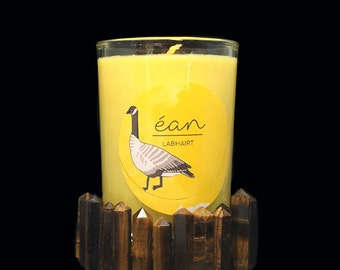 Yellow Intention Candle With Crystal,  Road Opener, Obstacle Remover, Tiger's Eye Crystal Point,  Lavender, Eucalyptus, Cedarwood