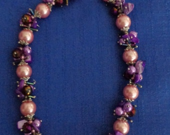 Purple Necklace, Chunky Necklace,Pink Pearl Necklace,Statement Necklace,Pink Necklace,Boho Necklace