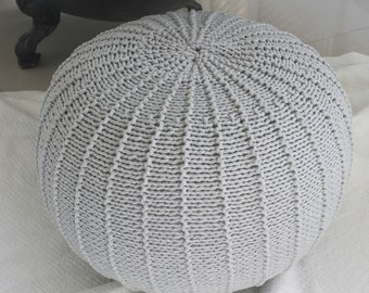 Large light grey floorpouf | knitted pouf | knit pouf | knitted ottoman | footstool | knitted pouffe | floor ottoman | crochet pouffe