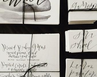 SIGNAGE   Menus // wedding menu // handlettered // calligraphy