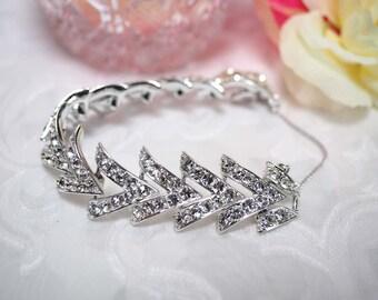 "Sarah Coventry ""Parisienne Nights"" Bracelet-Pave Crystal Rhinestones-Rhodium Silver-Vtg 1961, Signed-Wedding Bride Prom Grad gift-EXCELLENT!"