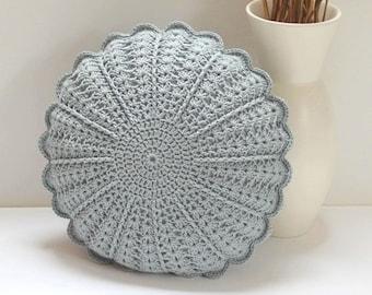 Round Crochet Pillow Etsy
