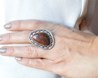 Free-Formed Bloodstone Ring // Bloodstone Jewelry // Sterling Silver // Village Silversmith