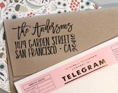 Custom address stamp, Cute Return Address Stamp with a fancy brush font for weddings, housewarming parties and customized gift for holidays