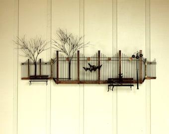 Curtis Jere Park Street Scene Trees Birds Wall Hanging Copper Brass Metal Mid Century Modern Retro 50's 60's Artisan House