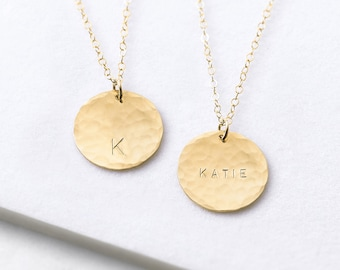 Personalised hammered disc necklace - gold circle necklace  - large gold disc necklace - personalised necklace - layering necklace