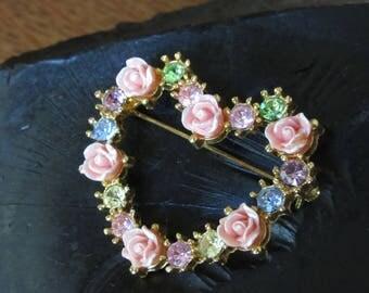 Vintage Avon Rose Heart Brooch. Gold w/ Pink,Green,Blue Rhinestones. Sweetheart,Romantic Jewelry,Spring Flowers,Pastel,Prongs,Love,Valentine