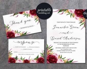 Floral Wedding Invitation, Marsala Wedding Invitation Pink Gold Burgundy Wedding Invitation Printable Wedding Invitation Spring summer