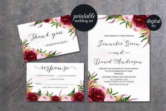 When Do I Send Out Wedding Invites: Floral Wedding Invitation Marsala Wedding Invitation Pink