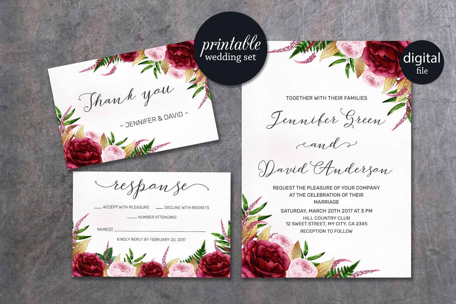 Details. Watercolor Marsala Burgundy Gold Floral Wedding Invitation ...