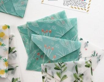 Botanical Green Envelopes - A2 - Glassine Envelopes Clear Envelopes
