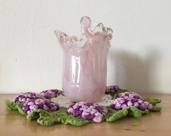 Hand Blown Glass Vase, Murano Glass Vase, Light Pink Vase