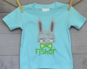 Personalized Easter Bunny with BowTie Applique Shirt or Onesie Girl or Boy