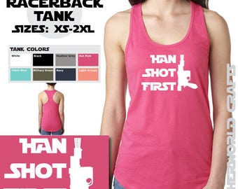 HAN SHOT FIRST - Ladies Racerback Tank Top - Star Wars