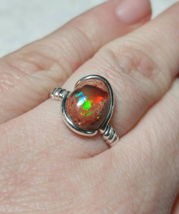 Natural Opal Ring | Opal Gift Ring | Cantara Opal Ring | Sterling Silver Ring Sz 8  | Boulder Opal Ring | Matrix Opal Ring | Opal Jewelry