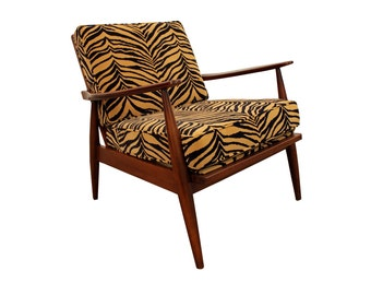 Mid-Century Lounge Chair Adrian Pearsall Danish Modern Zebra Print Walnut Open Arm Chair