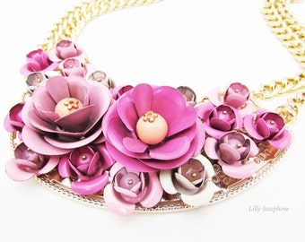 Pink Statement Floral Bib Necklace, Bold Flower Necklace, Statement Floral Necklace, Pink Flower Necklace, Chunky Pink Floral Necklace