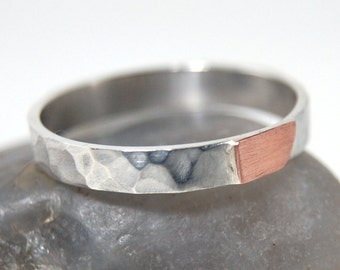 Mens Copper Wedding Band, women and mens copper hammered rings, hammered copper ring, Silver and Copper Ring