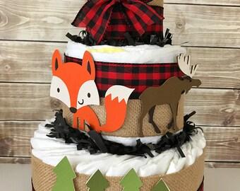 Woodland Lumberjack Baby Shower Diaper Cake, Little Lumberjack Baby Shower Centerpiece