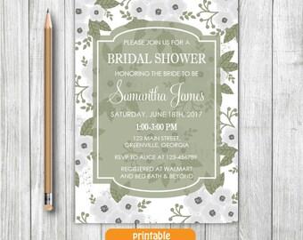 Printable Vintage Bridal Shower Invitation,White Olive Green Invitation,Flower Bridal Invitation,Floral Spring Summer Bridal Shower