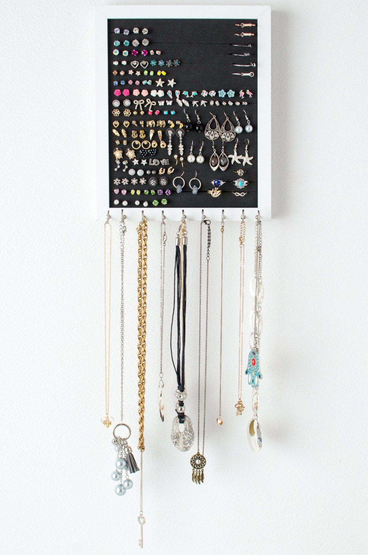 hanging earring organizer 8x10 white frame foam