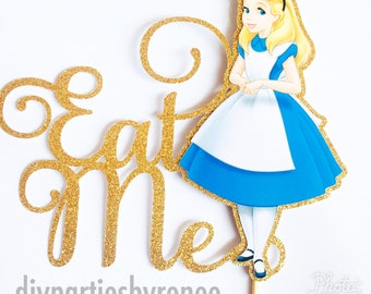 Alice in Wonderland Cake Topper - Eat Me Cake Topper - Alice - Assorted Colours