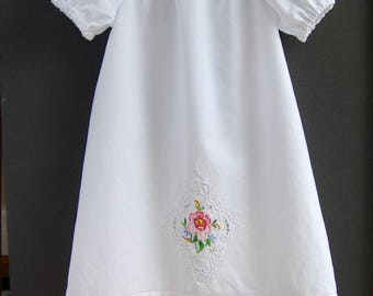 Size 2T Upcycled Dress, Toddler Embroidered Dress, Puffed Sleeves, Girls  Cotton Nightgown, Baby Shower Gift, Vintage Cotton Pillowcase