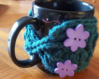 Mug Cozy, Handmade Teal Mug Warmer Purple Floral Buttons , Crochet Mug Warmer, Coffee Mug Decoration, Office, Home, Housewarming Gift