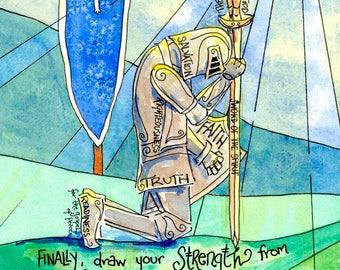 Armor of God, Personalized First Communion Gift, Ephesians 6 Scripture Art, Catholic, Christian, Knight, boys room decor, art print