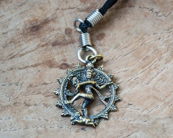 Shiva Nararaja brass pendant of Hindu God deity Dancing Shiva dancer necklace