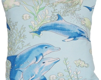 Dolphins Sea World Cushion Cover Fish Blue Throw Pillow Case Printed Cotton Fabric SALE 11.99