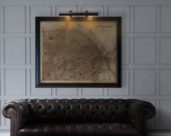 San Francisco Map : Vintage rustic Circa 1887 San Francisco map print poster - giclee print