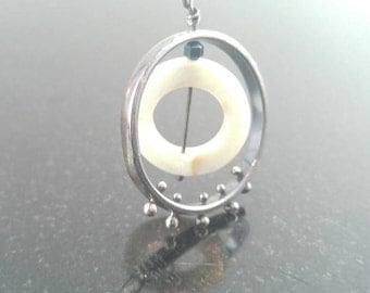 Sterling Silver Spine Necklace with Mother of Pearl