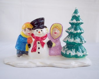 Christmas in July Sale Vintage Christmas Village People Ceramic Kids and Snowman