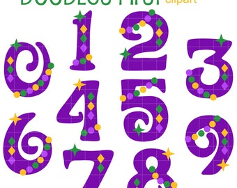 Mardi Gras Numbers Clip Art for Scrapbooking Card Making Cupcake Toppers Paper Crafts